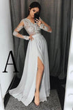 Stylish A-Line V-Neck Long Sleeves Split Front Gray Chiffon Long Prom Dresses