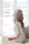 Scoop Neck Long Sleeve Tulle Wedding Dress With Lace Bodice V Back Wedding Gowns