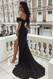 Sexy Off the Shoulder Black V Neck Mermaid Open Back Prom Dresses with Side Slit