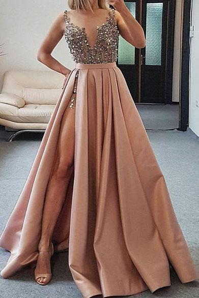 Sexy V Neck Dark Pink Beaded Satin Prom Dresses Evening Dresses with High Slit