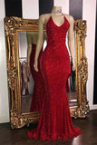 Sexy V Neck Red Glitter Sequins Prom Dresses Mermaid Halter Backless Evening Gowns