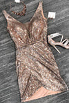 Sexy V Neck Sheath Sequins Straps Rose Gold Homecoming Dresses Cocktail Dresses
