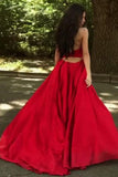 Sheath Halter Sweep Train Pleated Red Satin Prom Dress Sleeveless V Neck Party Dress