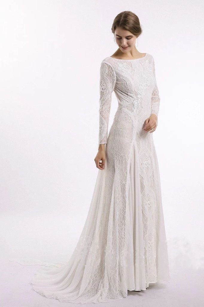 Sheath Long Sleeve Ivory Lace Wedding Dresses See Through Backless Boho Bridal Dresses