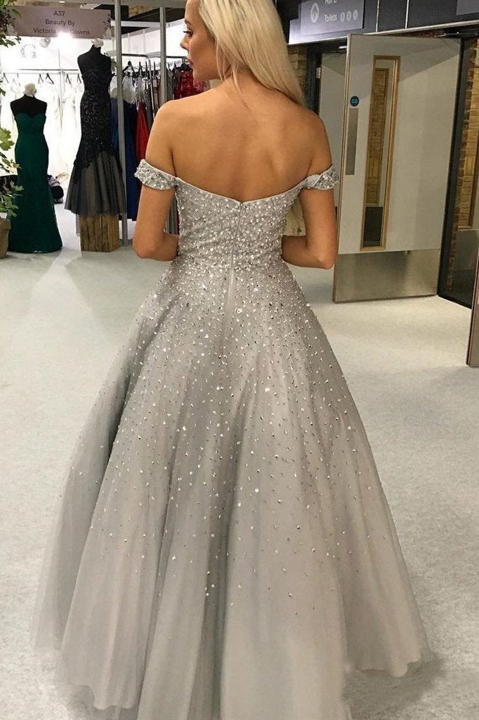 Shiny Ball Gown Off the Shoulder Sweetheart Silver Beaded Tulle Prom Dresses