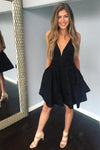 Short V Neck Jacquard Black Homecoming Dresses With Pocket Short Prom Dresses