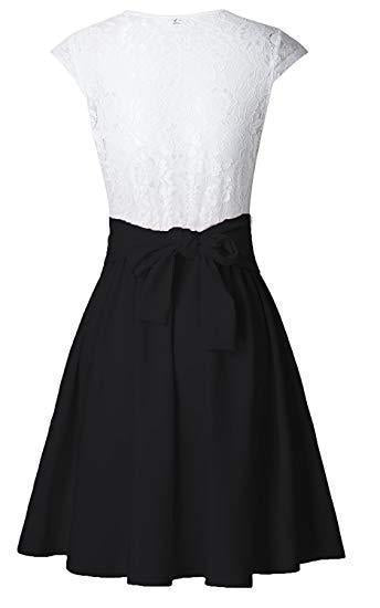Simple A Line Lace White and Black Homecoming Dresses with Satin Above Knee Cocktail Dress