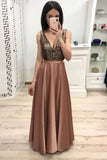 Simple A Line Long V Neck Brown Prom Dresses With Beads Cheap Party Dresses