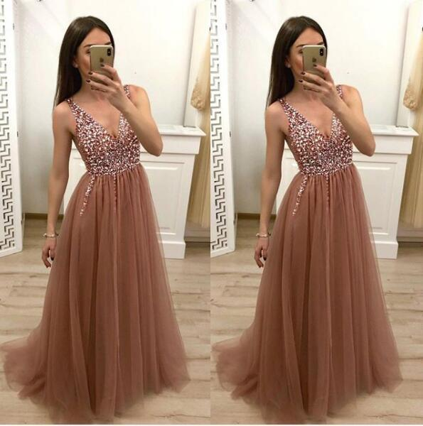 Simple Brown V Neck Beads Prom Dresses Tulle Long Cheap Prom Gowns