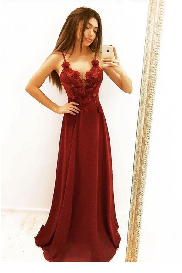 Simple Burgundy A Line Spaghetti Straps Prom Dresses V Neck Dance Dresses