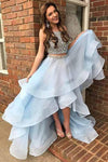 Simple Light Blue Two Pieces High Low Beads Sleeveless Prom Dresses with Tulle