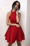 Simple Red Halter Satin Homecoming Dresses Above Knee Sleeveless Cocktail Dresses