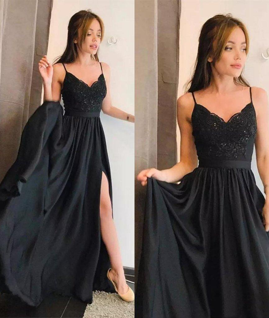 Simple Spaghetti Straps V Neck Lace Black Prom Dresses Side Slit Evening Dresses