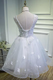 Simple Sweetheart White Lace up Beads Lace Appliques Tulle Straps Homecoming Dresses