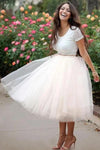 Simple Two Pieces Round Neck Ivory Short Prom Dress with Lace Homecoming Dresses