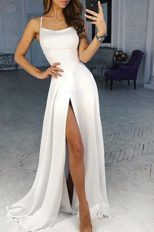 Simple White Scoop High Slit Satin Prom Dresses Long Cheap Prom Gowns