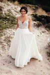Spaghetti Strap Beaded Wedding Dress Ivory Chiffon V Neck Rustic Wedding Dresses