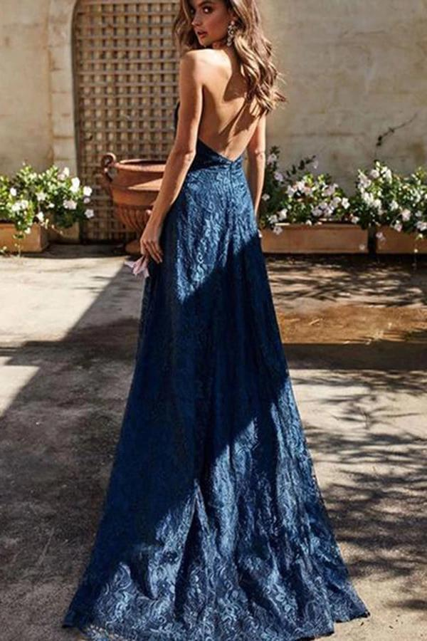 Spaghetti Straps V Neck Lace Prom Dress with Split Side Backless Long Formal Dresses