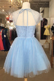 Sparkle Beaded Cap Sleeves Light Sky Blue Tulle Homecoming Dress Sweet 16 Dresses