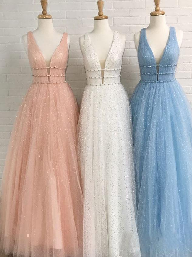 Sparkly Deep V Neck Long Beaded Backless Light Blue Prom Dresses Cheap Party Dress
