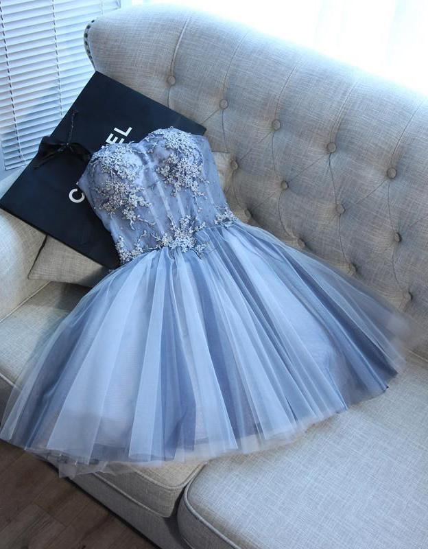 Sweetheart Strapless Homecoming Dresses Beads Blue Lace up Tulle Short Prom Dresses