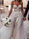 Sweetheart Strapless Lace Rustic Wedding Dresses Long Tulle Beach Wedding Dress