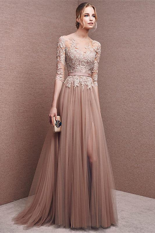 Elegant long lace long sleeve prom dress a line prom dress charming affordable prom dress