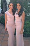 Mermaid One Shoulder Sleeveless Pink Ruffles Stretch Satin Bridesmaid Dresses