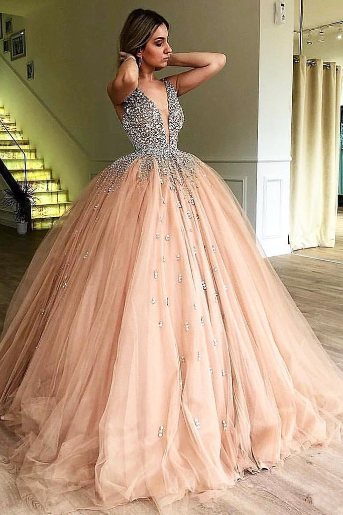 Unique Ball Gown V Neck Sleeveless Beading Tulle Prom Dresses Quinceanera Dress