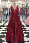 Unique Burgundy Sequins Tulle Prom Dress V Neck A Line Backless Prom Dresses