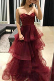 Unique Sweetheart Burgundy Ruffles Organza Layered Skirt Prom Dresses