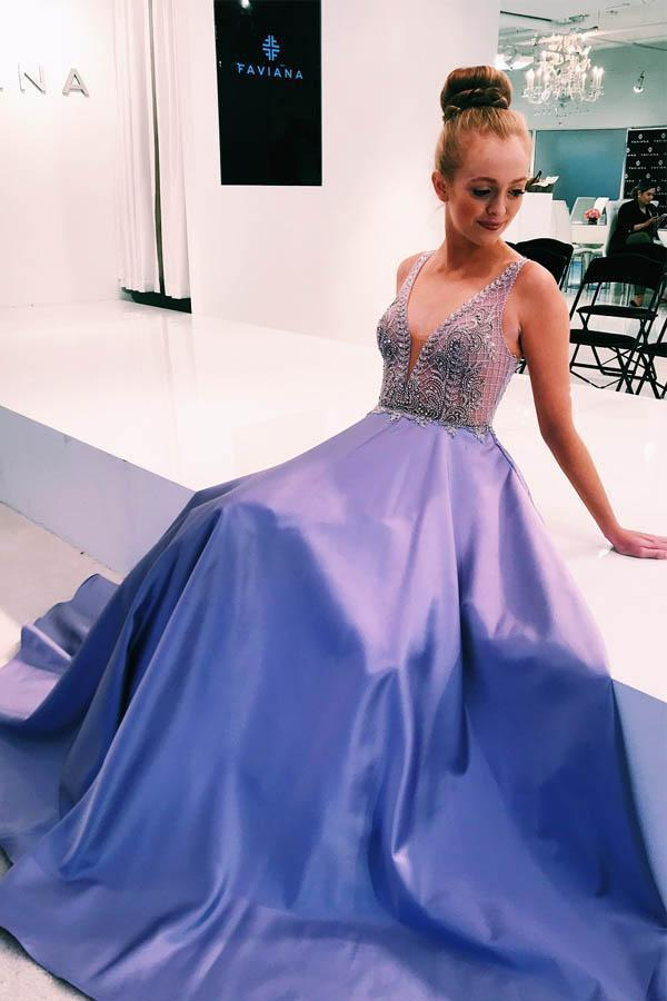 V-Neck Lavender Satin Long Prom Dresses Formal Dress with Beads Top Sleeveless