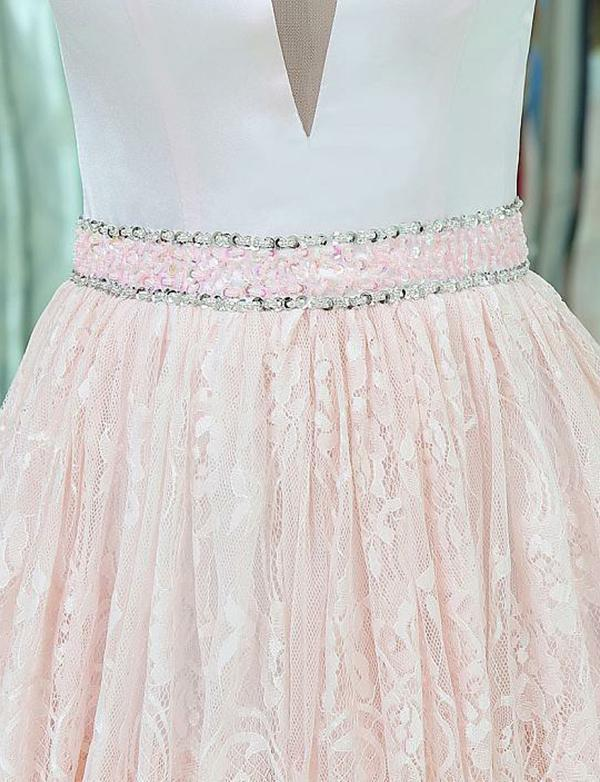 V-Neck Sleeveless Lace Long Pink Prom Dresses With Beading Tiered Evening Dress