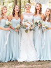 Simple A-Line Sweetheart Light Blue Long Spaghetti Straps Chiffon Bridesmaid Dress with Pleats