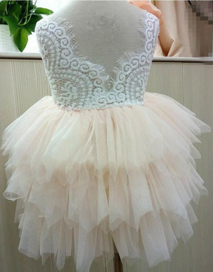 Princess Cute Pink Lace Tulle Flower Girl Dresses Layered Open Back Lovely Tutu Dresses
