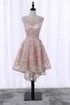 Vintage High Low Round Neck Lace Appliques Pink Homecoming Dresses with Straps