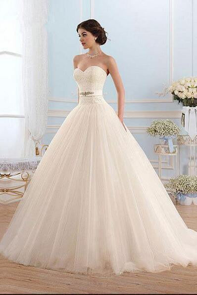 White Tulle Sweetheart Strapless Open Back Ball Gown Sleeveless Floor-Length Wedding Dress