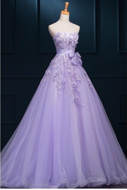 New Arrival Ball Gown Floor-length Luxury Appliques Prom Dress Wedding Dresses