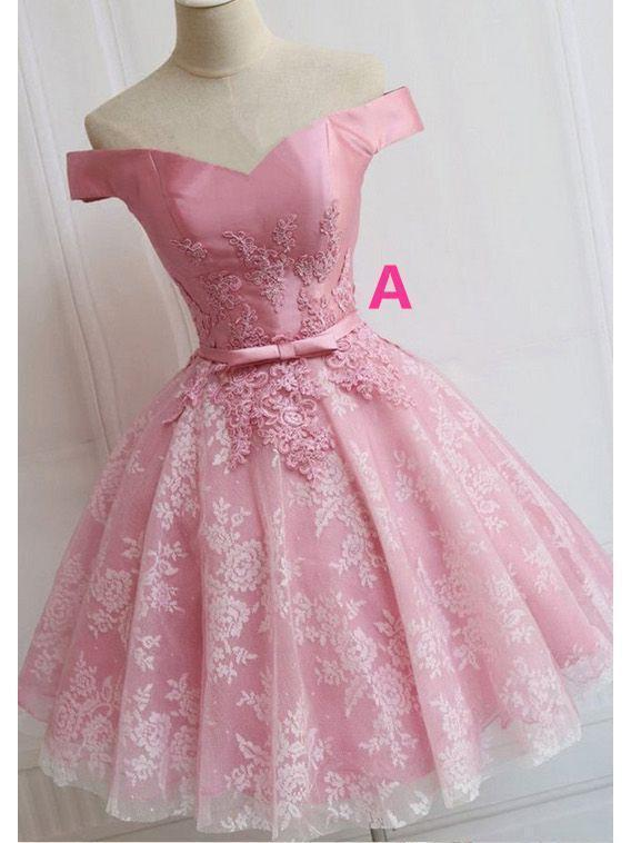 Off the Shoulder Lace up Lace Applique Dusty Rose Short Prom Dress Homecoming Dresses