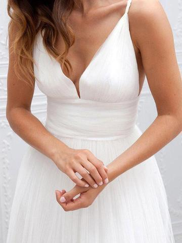 Simple V-neck Floor-Length Wedding Dress With Ruched Sash