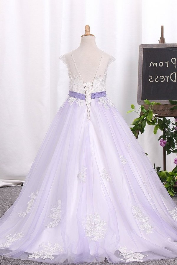 Ball Gown Scoop Tulle Flower Girl Dresses With P4CZT5SY