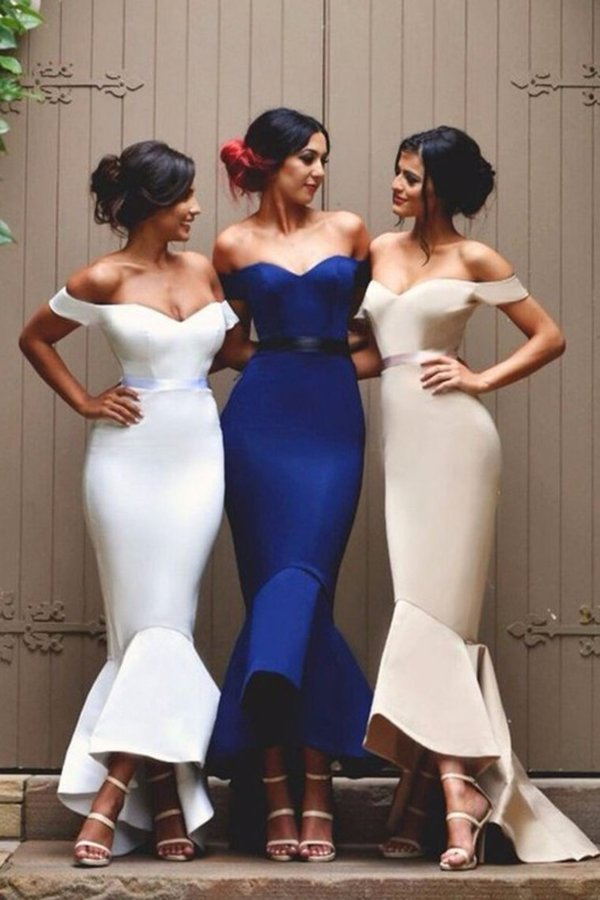 2020 Bridesmaid Dresses Mermaid Off The Shoulder Satin PKCY6CFC