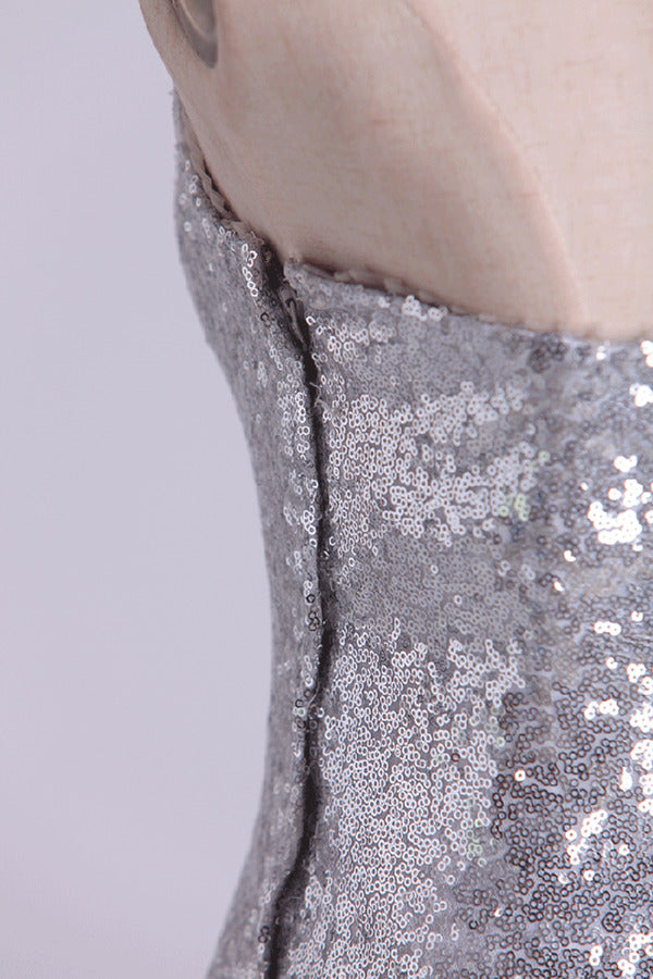 Shiny Sweetheart Sheath Short Sequined PR7HB22A