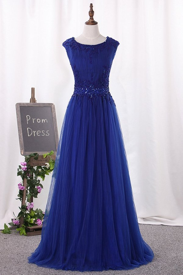 2020 A Line Scoop Tulle With Beading Prom Dresses PZCATXM9