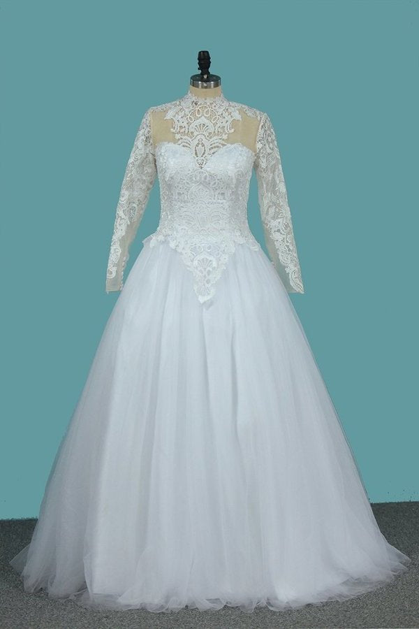 A Line Long Sleeves High Neck Tulle With Applique Chapel Train Detachable PHB3BSRH