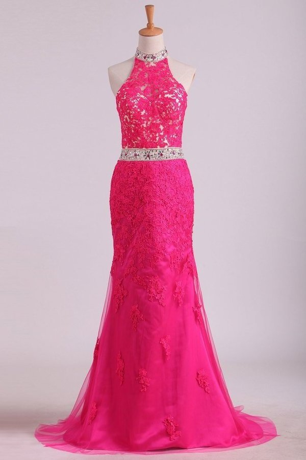High Neck Open Back Sheath Prom Dresses Tulle With Applique And P59E1Q26