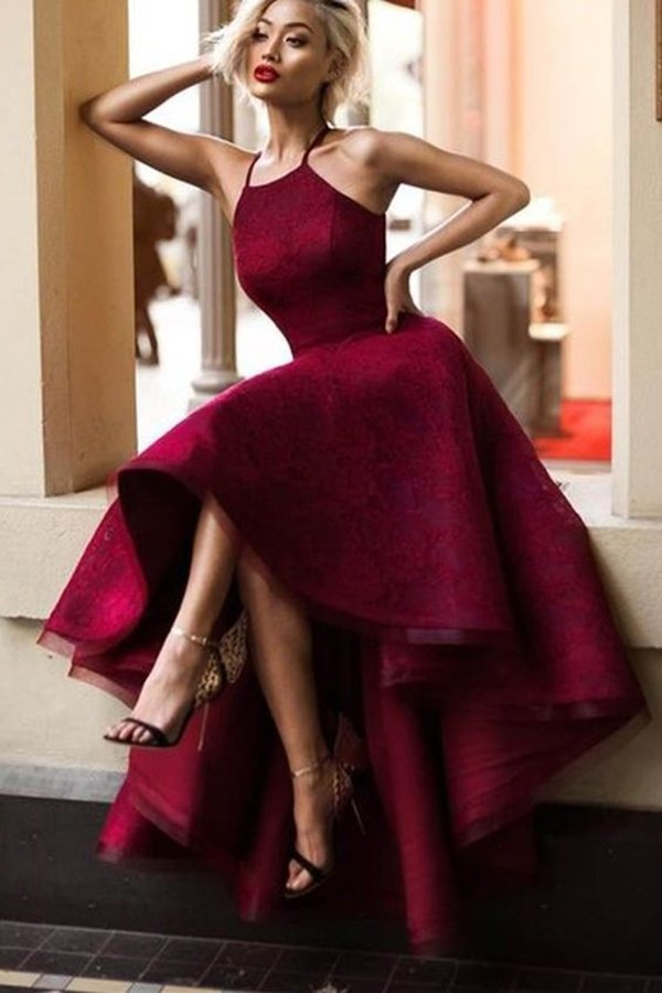 Burgundy/Maroon Lace Halter Prom Dress P4H3BXE9