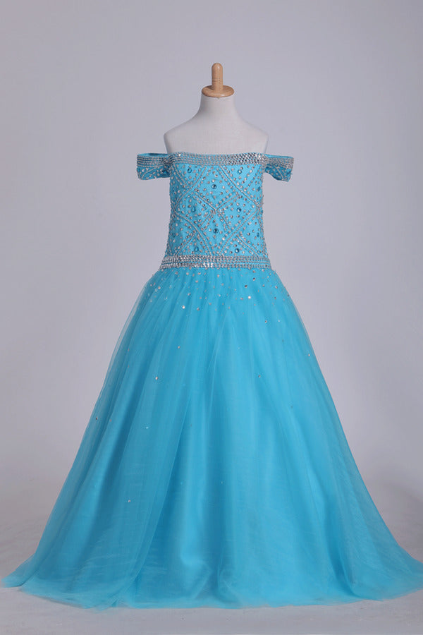 Flower Girl Dresses Boat Neck With Beading Tulle Floor P8C9J3T6