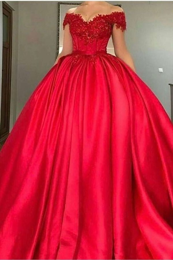 Ball Gown Off-The-Shoulder Satin With Applique Color Red PD3LCRAS