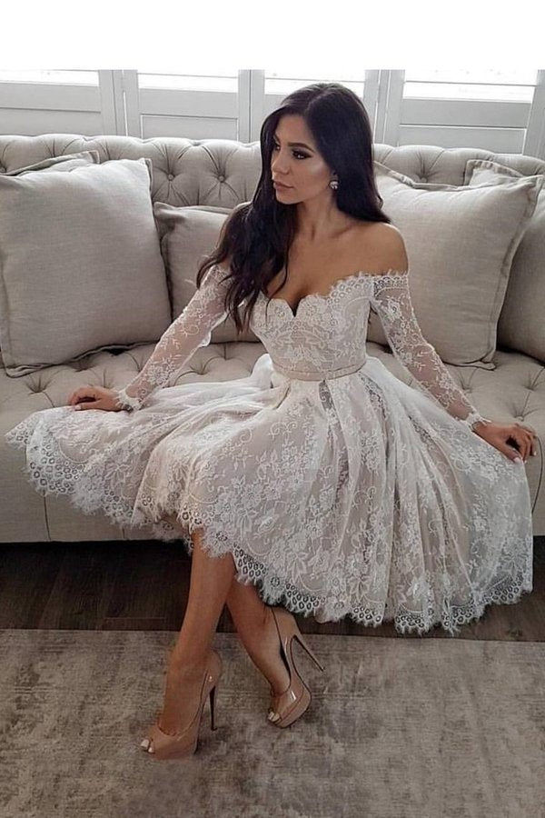2020 Off The Shoulder Long Sleeves Homecoming Dresses A Line Lace PMRDCAZF